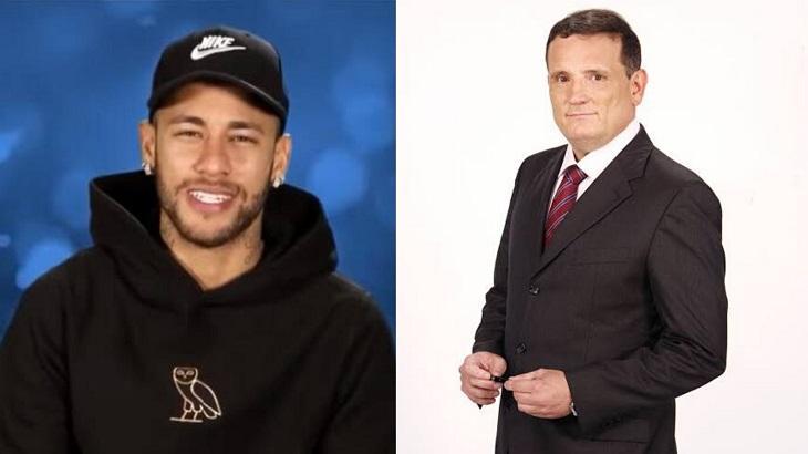 Montagem com a tela dividida entre Neymar e Roberto cabrini