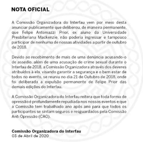 Organização confirma que ex-BBB Felipe Prior foi expulso de jogos após acusações de estupro