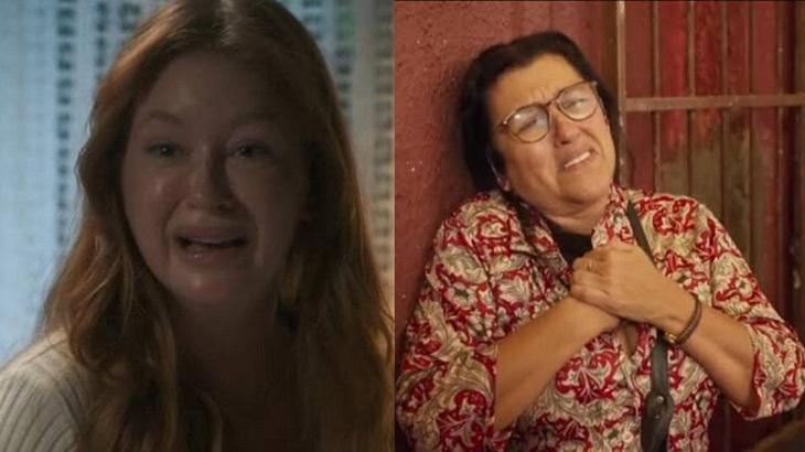 Tela dividida com Luz, protagonista de O Sétimo Guardião e Lurdes, protagonista de Amor de Mãe, com ambas chorando.