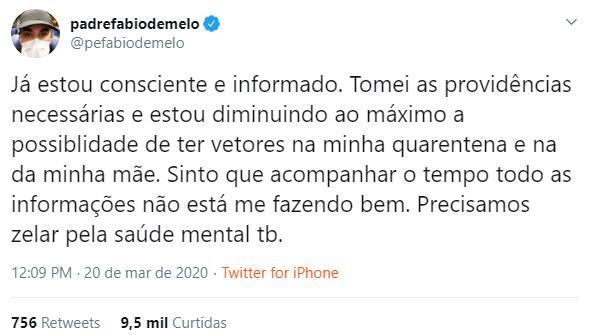 """Padre Fábio de Melo critica excesso de informações sobre coronavírus: \""""Me deixando mal\"""""""