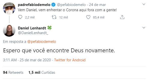 """Ex-BBB Daniel rebate deboche de Padre Fábio de Melo: \""""Que você encontre Deus novamente\"""""""