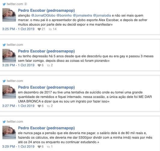 """Filho acusa Alex Escobar de abusos e fala em suicídio: \""""Monstro\"""""""