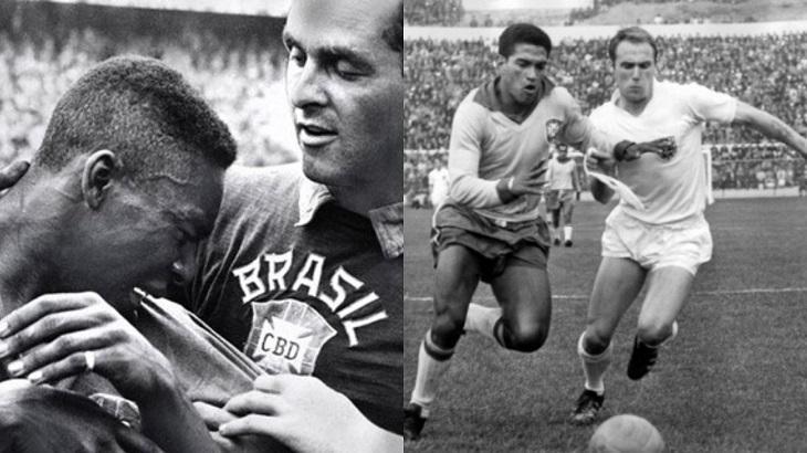 Montagem com Pelé e Garrincha nas Copas