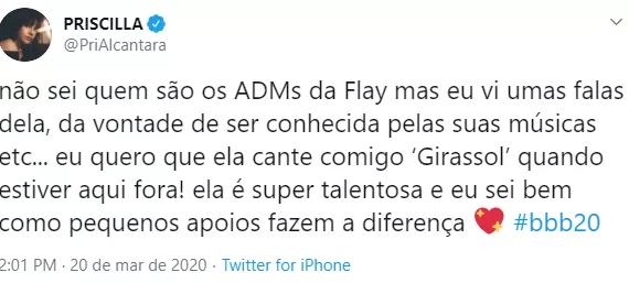 "BBB20: Priscilla Alcântara elogia Flay e a convida para dueto: \""Super talentosa\"""
