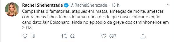 Rachel Sheherazade diz estar sofrendo ameaças de morte por criticar Jair Bolsonaro