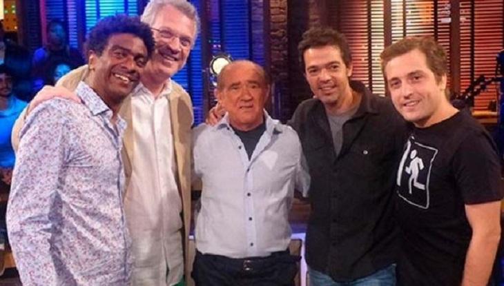 Pedro Bial com Renato Argão, Bruno Mazzeo, Gregório Duvivier e Hélio de La Peña