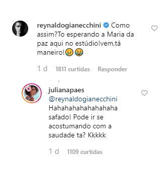 """Juliana Paes posa de biquíni ao lado do marido e Reynaldo Gianecchini reage: \""""Como assim?\"""""""