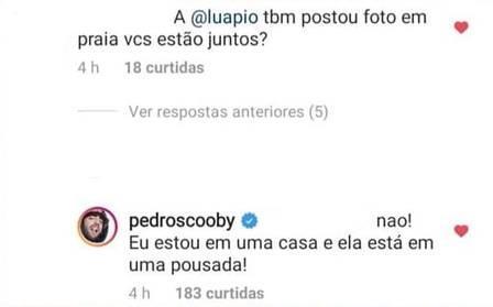 Pedro Scooby responde se está junto com Luana Piovani em Noronha