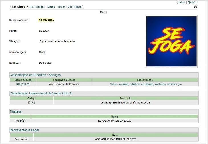 Globo disputa com Naldo Benny pelo direito de uso da marca Se Joga