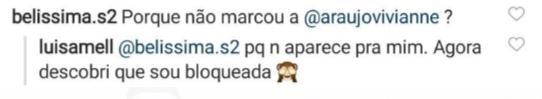 """Luisa Mell descobre que foi bloqueada por Viviane Araújo: \""""Não aparece pra mim\"""""""