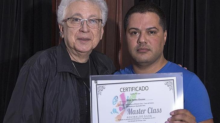 Silvio Cerceau e Aguinaldo Silva no fim da masterclass