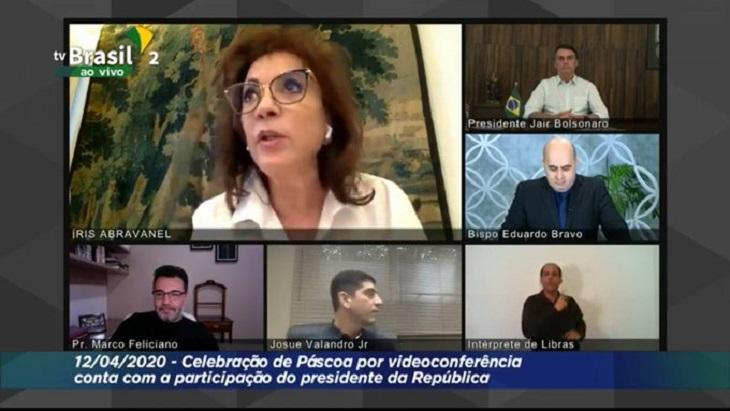 Live da TV Brasil com pastores, Íris Abravanel e Jair Bolsonaro