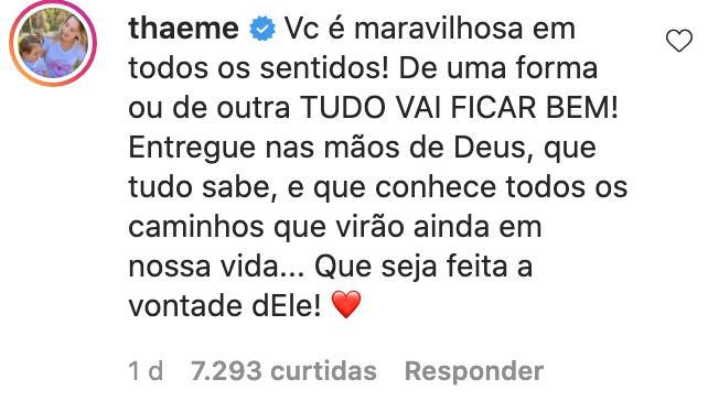 """Thaeme apoia Andressa Suita após separação de Gusttavo Lima: \""""Tudo vai ficar bem\"""""""