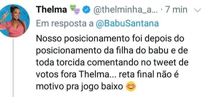 BBB20: Perfis de Babu e Thelma trocam acusações nas redes sociais