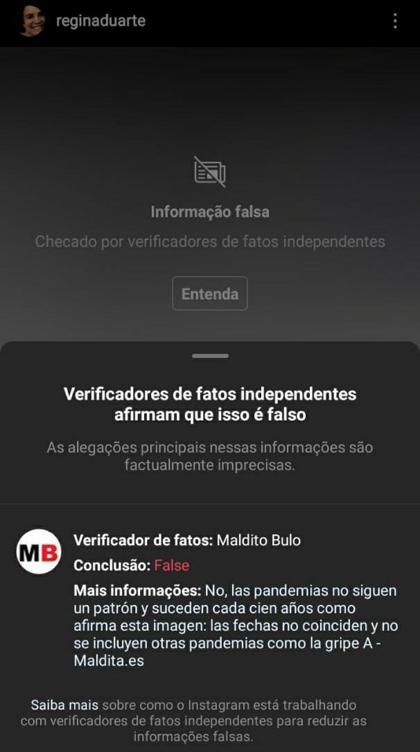Regina Duarte publica conteúdo duvidoso e Instagram alerta para fake news