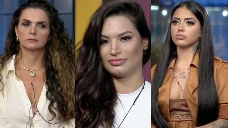 Luiza Ambiel, Raissa Barbosa e MC Mirella durante programa ao vivo
