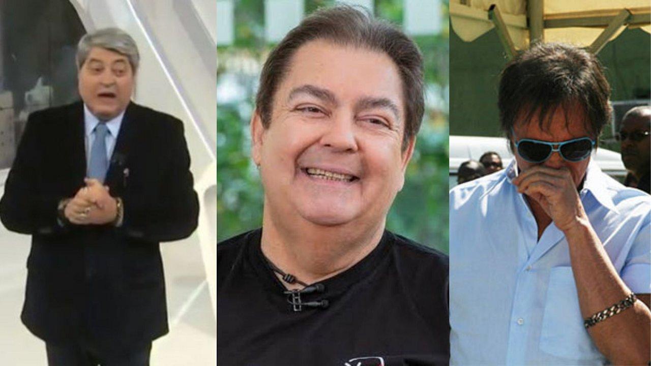 Datena (à esquerda), Faustão (centro) e Roberto Carlos (à direita) em foto montagem