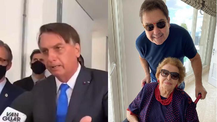Bolsonaro surtando com repórter (à esquerda) e Faustão com sua mãe (à direita)