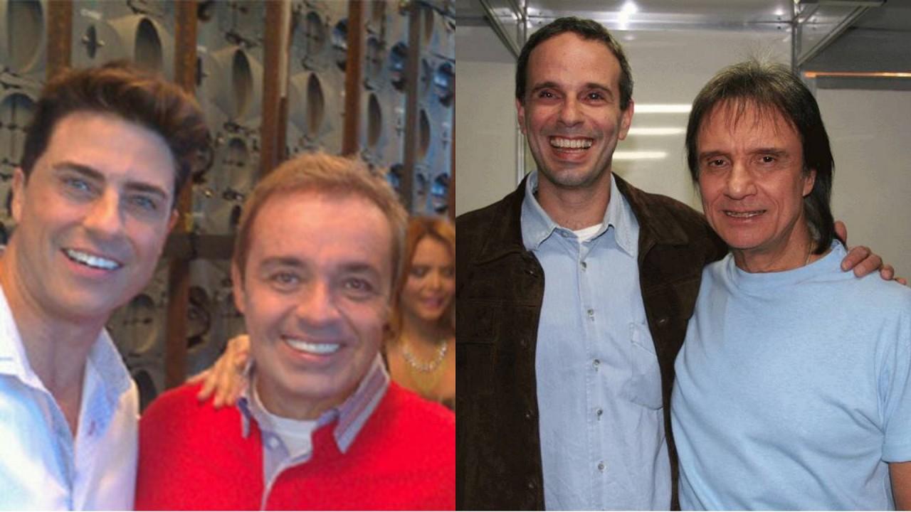 Gugu e Marcelo (à esquerda) e Roberto Carlos e Dudu Braga (à direita) em foto montagem