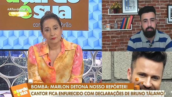 Sônia Abrão, Bruno Tálamo e Marlon no A Tarde é Sua