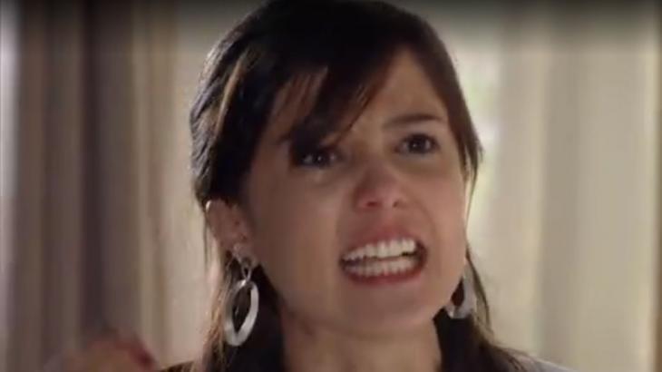Cena de A Vida da Gente com Manuela furiosa e chorando