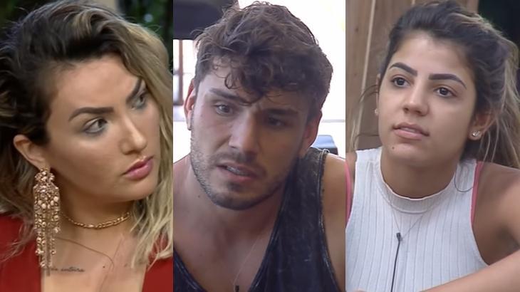 Thayse Teixeira, Lucas Viana e Hariany Almeida durante o reality show A Fazenda 2019