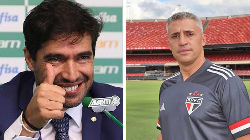 Abel Ferreira fazendo joinha e Hernán Crespo sério