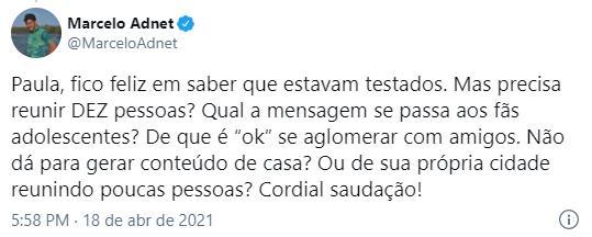 """Ex-BBB Paula Sperling rebate Marcelo Adnet sobre aglomeração: \""""Hipocrisia\"""""""