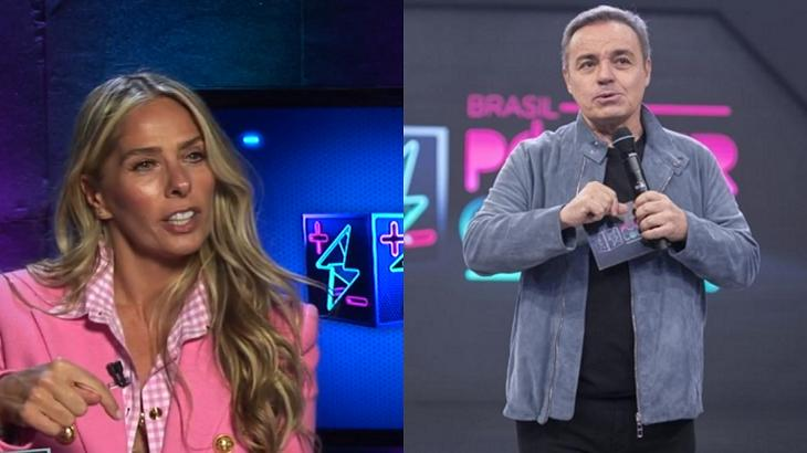 Adriane Galisteu (à esquerda) e Gugu Liberato (à direita) em foto montagem