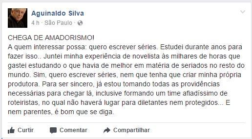 """Aguinaldo Silva manda recado: \""""Chega de amadorismo! Quero escrever séries\"""""""