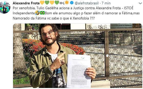 """Alexandre Frota ironiza Túlio Gadêlha: \""""arrumou algo para fazer\"""""""
