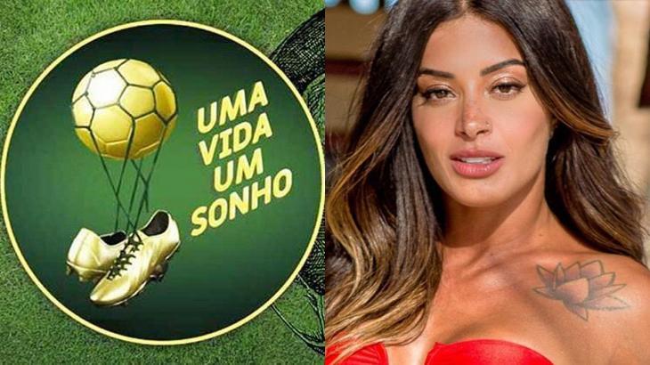 Aline Riscado e o logo do reality show do SBT