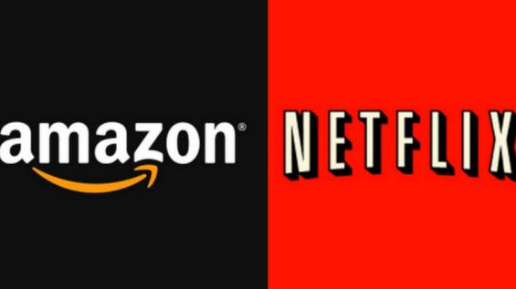Montagem de foto com logos da Amazon e da Netflix