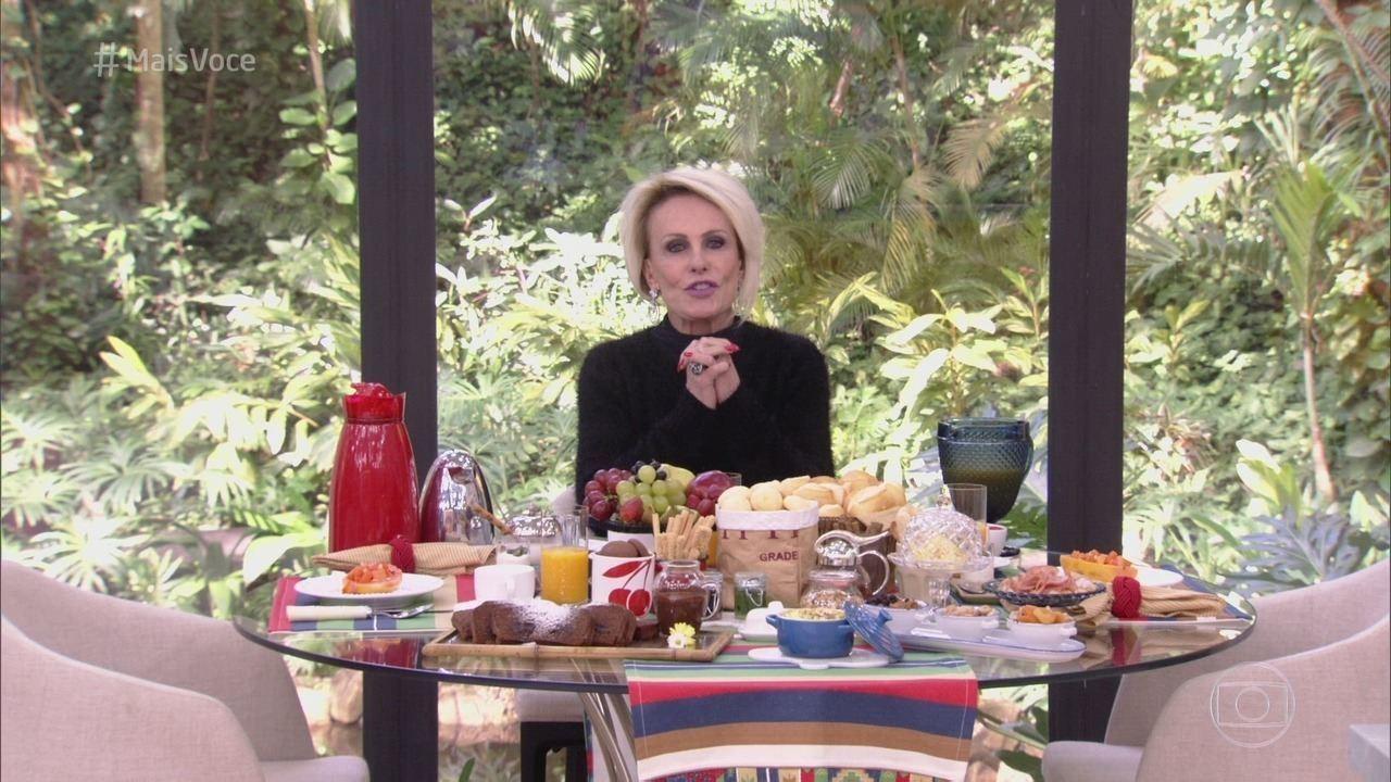 A apresentadora Ana Maria Braga durante o Mais Você, ao vivo na Globo