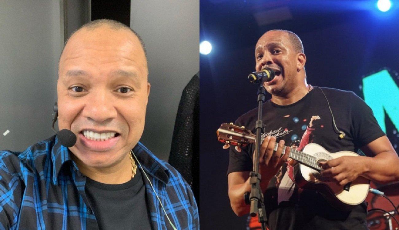 O cantor Anderson Leonardo, do Molejo, sorridente, e cantando e tocando cavaquinho durante show