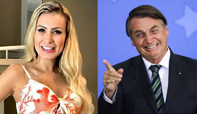 Andressa Urach, à esquerda, e Bolsonaro, à esquerda em montagem do NaTelinha