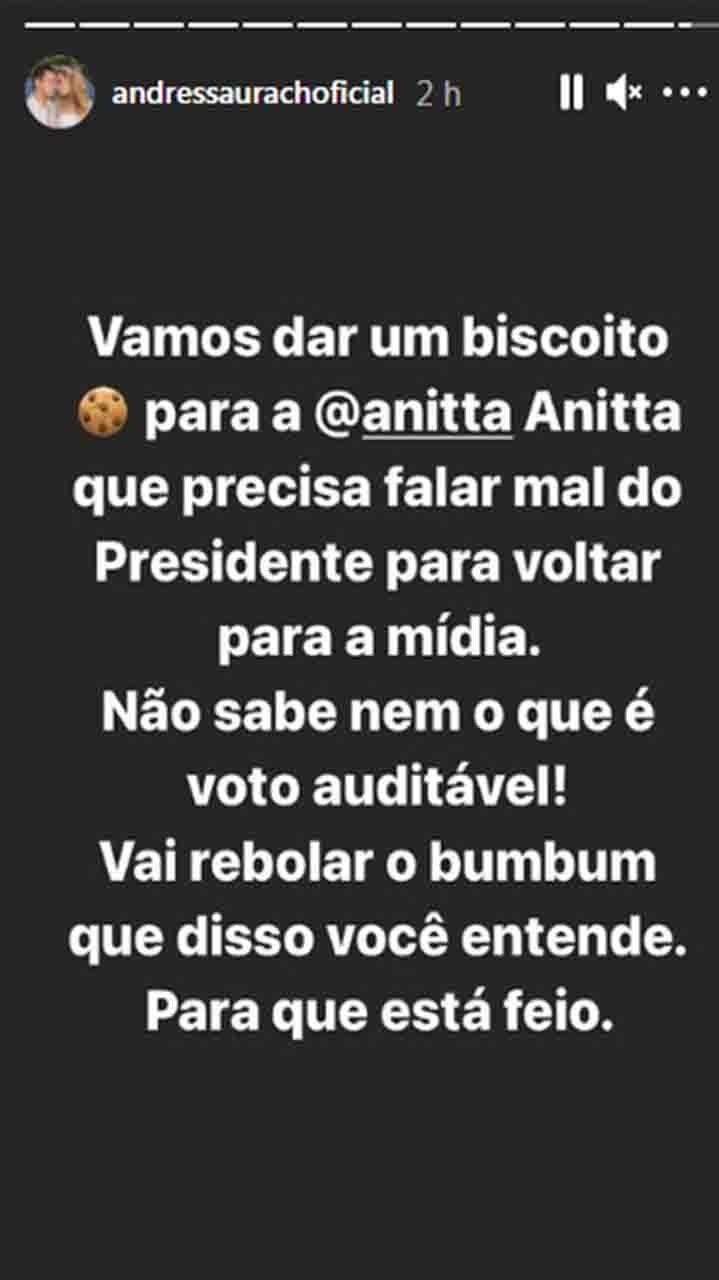 Andressa Urach troca farpas com Anitta e defende Bolsonaro