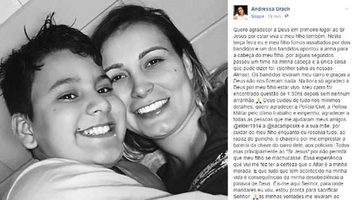 """Andressa Urach é assaltada com arma na cabeça do filho: \""""Senhor, salve as nossas almas\"""""""