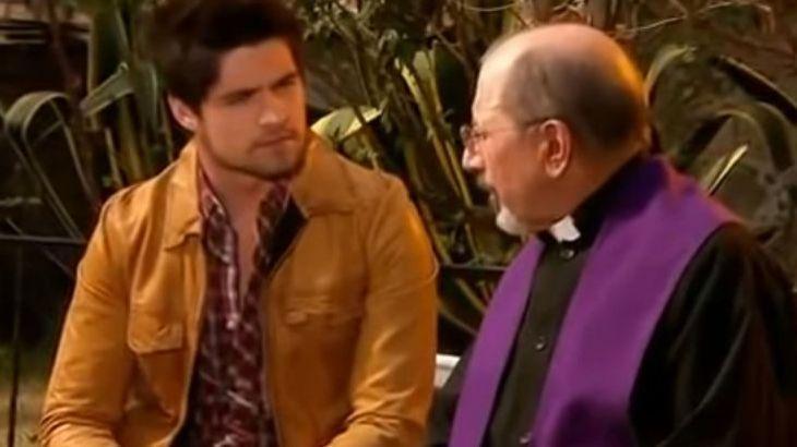 Cena de Quando me Apaixono com Aníbal conversando com o padre