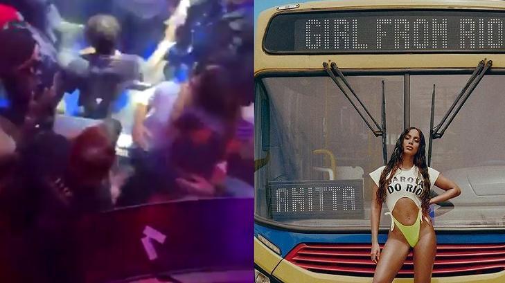 Anitta beijando empresário (à esquerda) e Anitta divulgando seu novo clipe (à direita) em foto montagem