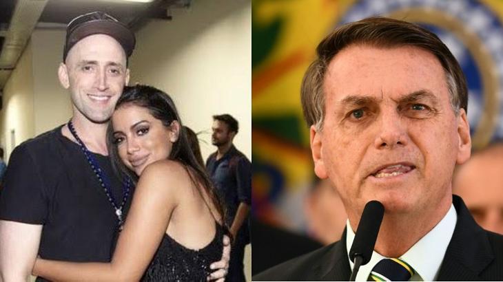 Anitta abraçada com Paulo Gustavo (à esquerda) e Bolsonaro discursando (à direita) em foto montagem