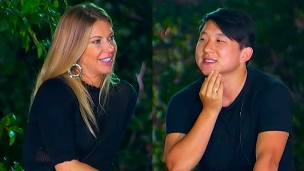 Antonela e Pyong Lee no Ilha Record se olhando