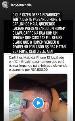"""Antônia Fontenelle critica Carlinhos Maia por dar celular a morador de rua: \""""Bizarrice\"""""""