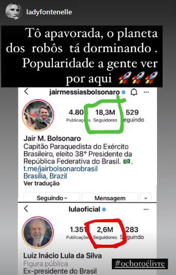 """Antonia Fontenelle exalta Bolsonaro e cutuca Lula: \""""O choro é livre\"""""""