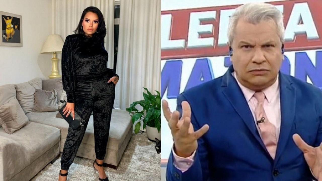 Montagem de Ariadna Arantes, de pé, com a mão no bolso e de Sikêra Jr. nos bastidores do seu programa na RedeTV!