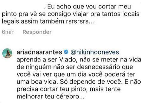 """Ex-BBB Ariadna é vítima de ataque homofóbico e responde: \""""tente melhorar teu cérebro\"""""""