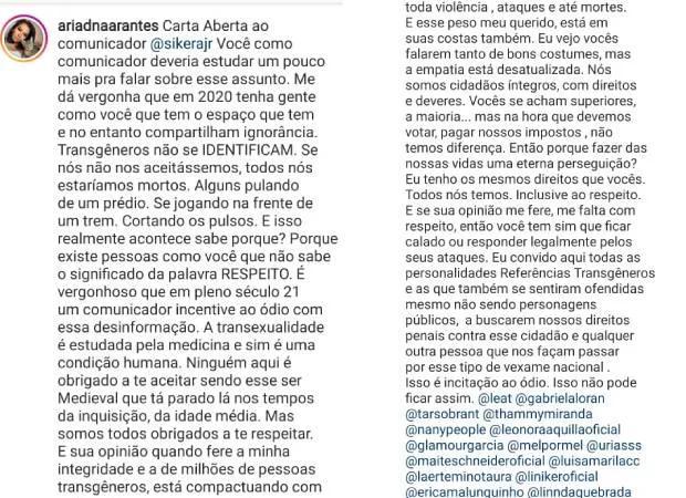 """Ex-BBB Ariadna acusa Sikêra Jr de incitação ao ódio: \""""Ser medieval\"""""""
