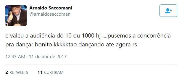 """Arnaldo Saccomani ironiza audiência de Xuxa: \""""Pusemos a concorrência pra dançar\"""""""