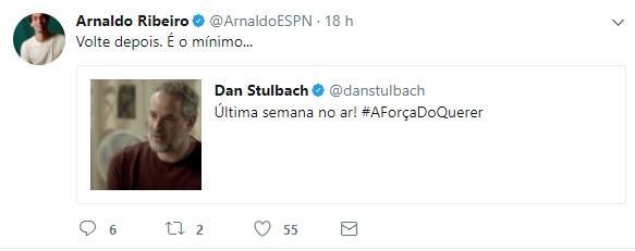 """Jornalista pede volta de Dan Stulbach à ESPN após novela: \""""É o mínimo\"""""""