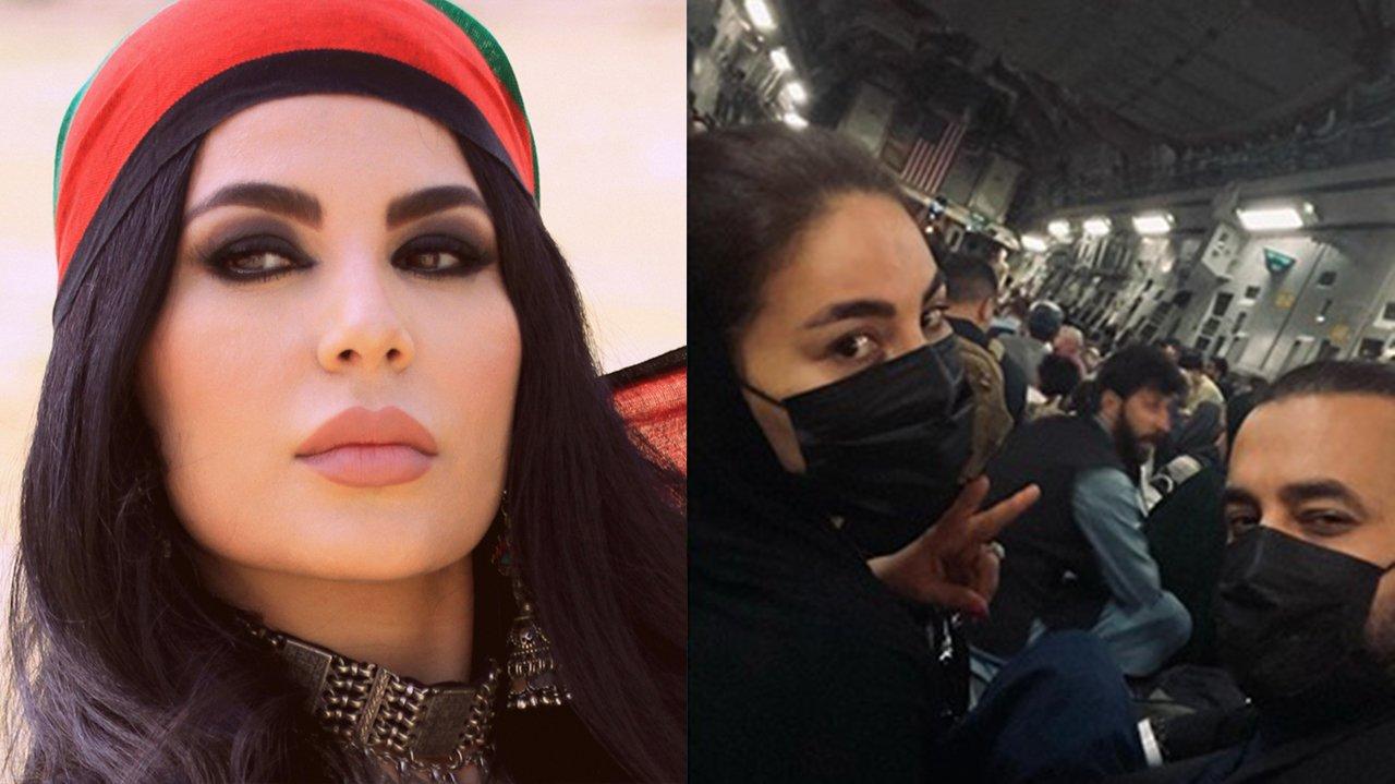 Aryana Sayeed posada com lenço na cabeça; Aryana Sayeed no chão, fazendo sinal com as mãos, fugindo do país